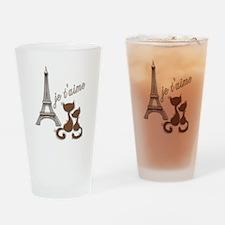 Chocolate Brown I Love Paris Eiffel Tower Cats Dri