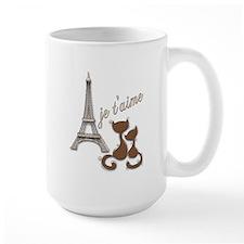 Chocolate Brown I Love Paris Eiffel Tower Cats Mug