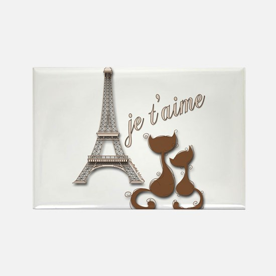 Chocolate Brown I Love Paris Eiffel Tower Cats Rec