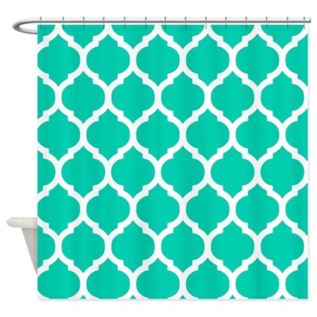Teal Blue Moroccan Trellis Shower Curtain By Doodles Design