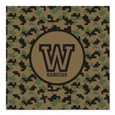 "Geek Camouflage Monogram Square Car Magnet 3"" x 3"""