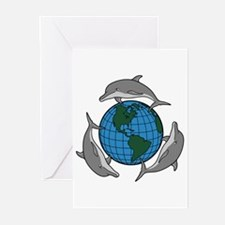 Dolphins and Earth Greeting Cards (Pk of 10)