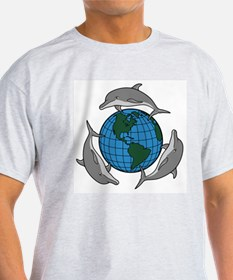 Dolphins and Earth Ash Grey T-Shirt
