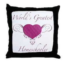 World's Greatest Homeschooler (Heart) Throw Pillow