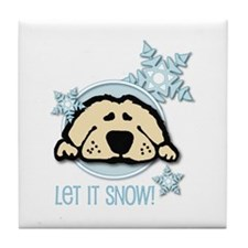 Let it Snow Golden Tile Coaster