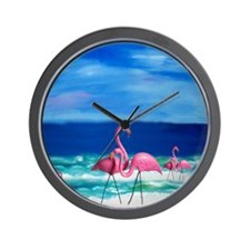 Plastic Pink Flamingos on the Beach Wall Clock