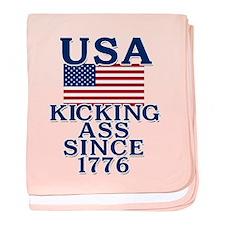 USA Kicking Ass Since 1776 baby blanket