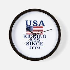 USA Kicking Ass Since 1776 Wall Clock