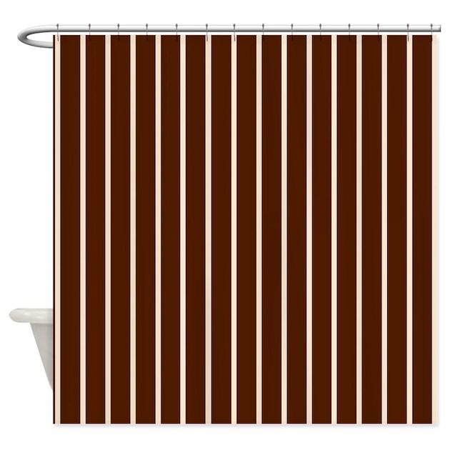 Brown Pinstripe Shower Curtain By Applepip3