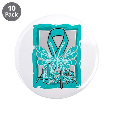 "PCOS Hope Butterfly Shirts 3.5"" Button (10 pack)"