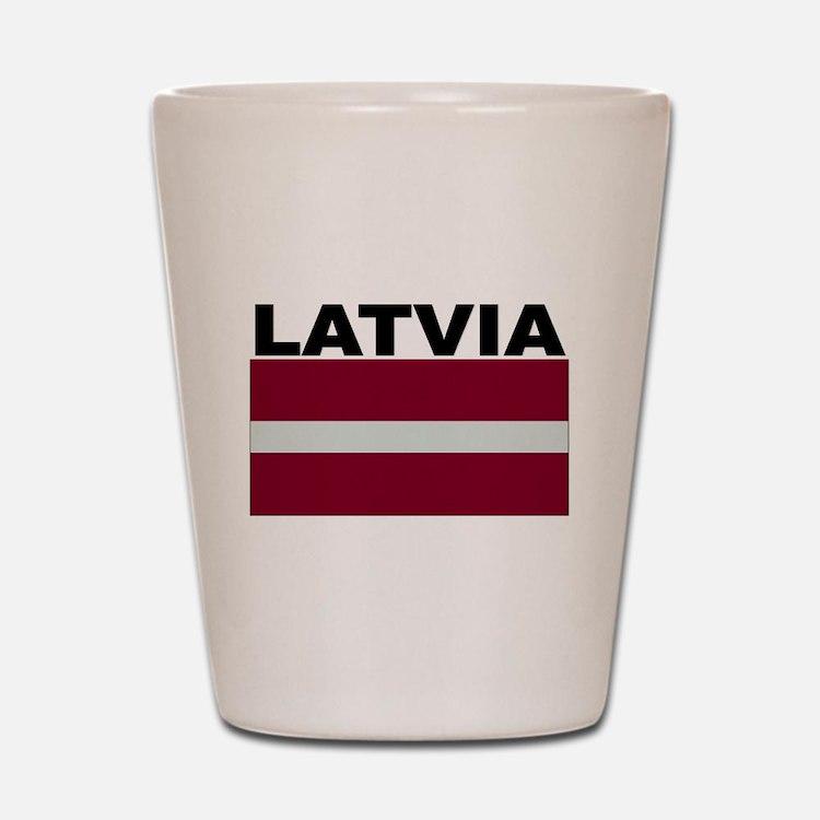 Latvia Flag Shot Glass
