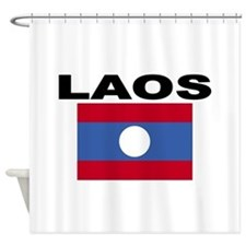 Laos Flag Shower Curtain