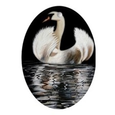Swan Oval Ornament