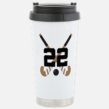 Field Hockey Number 22 Stainless Steel Travel Mug