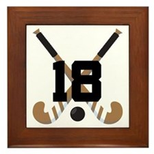 Field Hockey Number 18 Framed Tile