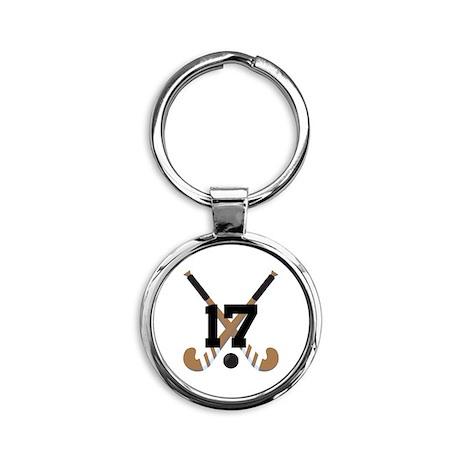 Field Hockey Number 17 Round Keychain