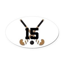 Field Hockey Number 15 Oval Car Magnet