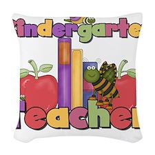 kindergartenappletteacher.png Woven Throw Pillow