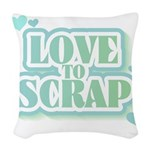 greenlovetoscrap.png Woven Throw Pillow