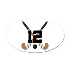 Field Hockey Number 12 Oval Car Magnet