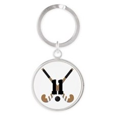 Field Hockey Number 11 Round Keychain