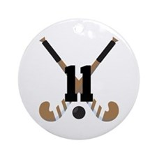 Field Hockey Number 11 Ornament (Round)