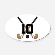Field Hockey Number 10 Oval Car Magnet