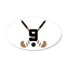 Field Hockey Number 9 Oval Car Magnet