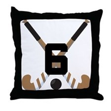 Field Hockey Number 6 Throw Pillow