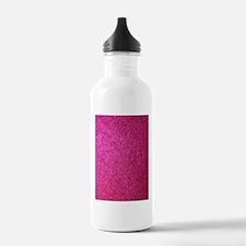 Hot pink faux glitter Sports Water Bottle