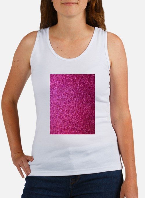 Hot pink faux glitter Tank Top