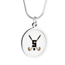 Field Hockey Number 5 Silver Round Necklace