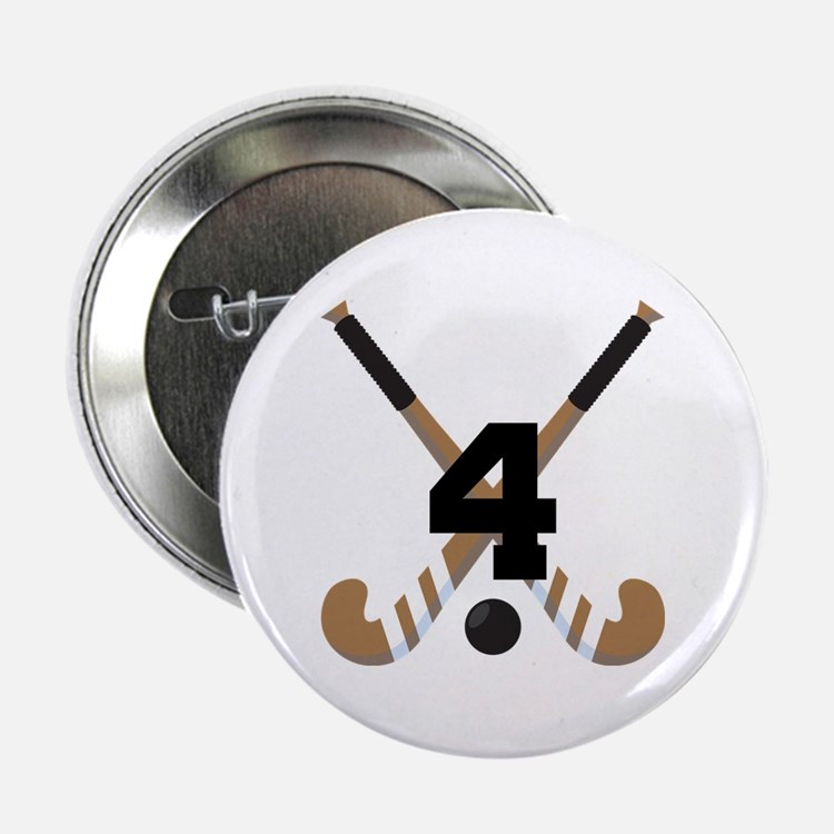 """Field Hockey Number 4 2.25"""" Button"""