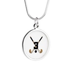 Field Hockey Number 3 Silver Round Necklace