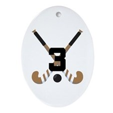 Field Hockey Number 3 Ornament (Oval)