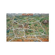 Cute Atlanta cartoon map Rectangle Magnet