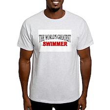 """The World's Greatest Swimmer"" Ash Grey T-Shirt"