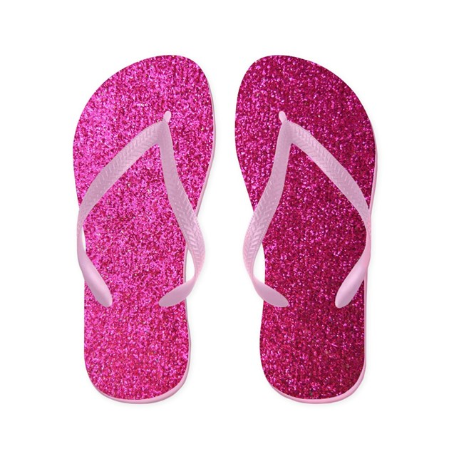 Hot Pink Faux Glitter Flip Flops By Inspirationzstore