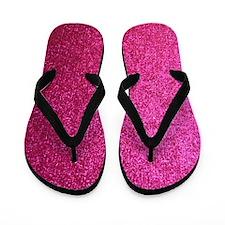 Hot pink faux glitter Flip Flops