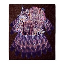4 Wolves Dreamcatcher Throw Blanket