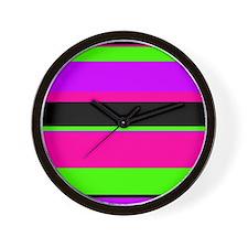 Neon Pink/Purple/Green Stripe Wall Clock
