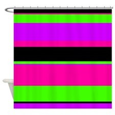 Neon Pink/Purple/Green Stripe Shower Curtain