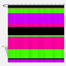 Neon Pink/Purple/Green Stripe Shower Curtain