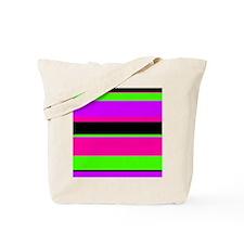 Neon Pink/Purple/Green Stripe Tote Bag