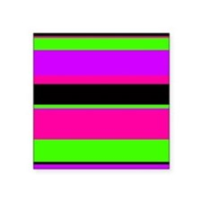 """Neon Pink/Purple/Green Stripe Square Sticker 3"""" x"""