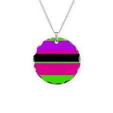 Neon Pink/Purple/Green Stripe Necklace
