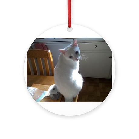 White Cat Ornament (Round)