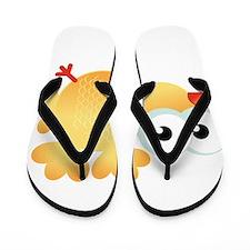 Yellow Cartoon Bird Flip Flops