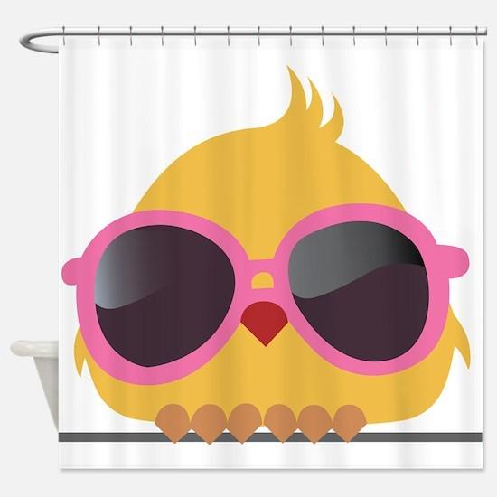 Chick Wearing Sunglasses Shower Curtain