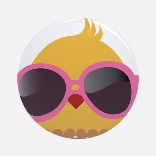 Chick Wearing Sunglasses Ornament (Round)